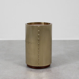 Ocean Liner Side Table 14 dia x 22.5 H inches Brass, Wood