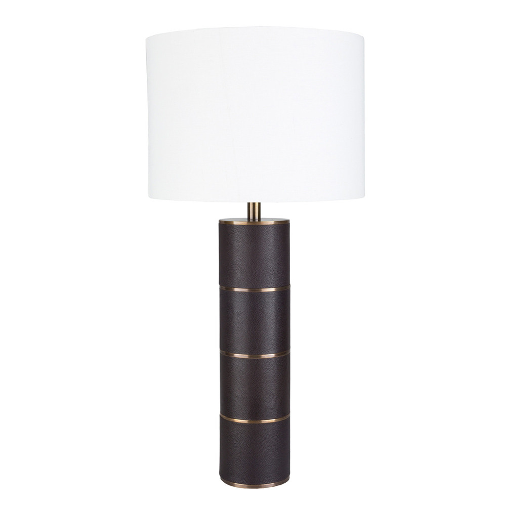 Knickerbocker Leather Table Lamp   ADS 001 14 Dia X 28.5 H Inches Leather,  Cotton