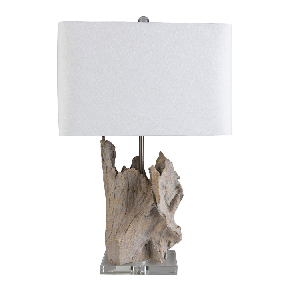 Montauk Driftwood Table Lamp - ARY-001 16 x 11 x 26.25 H inches Ceramic Composite, Crystal, Linen