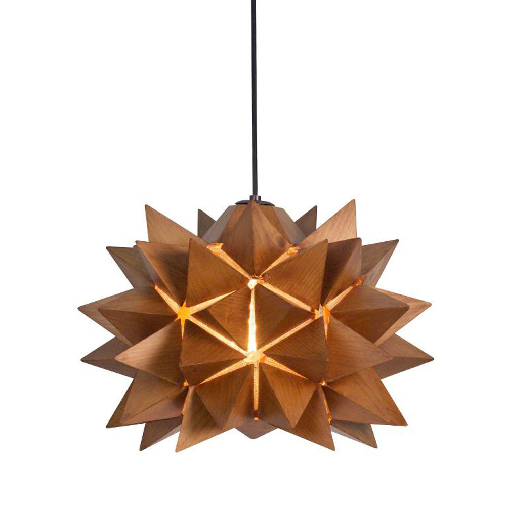 Nova Suspension Lamp 15 diameter x 11 H inches Lauan Wood Medium Brown
