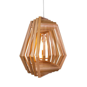 Hexagonal Twist Suspension Lamp 26.5 x 26.5 x 24 H inches Lauan Wood