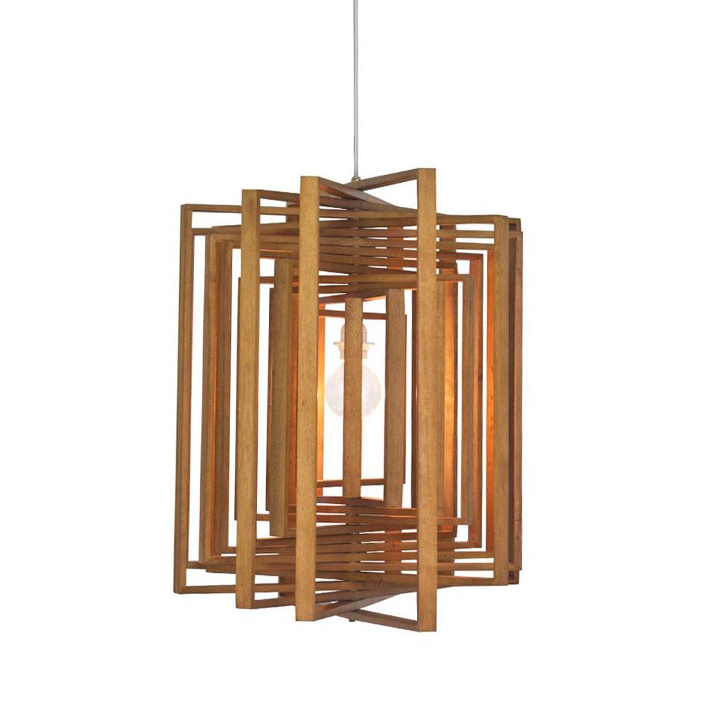 Square Twist Suspension Lamp 26.5 x 26.5 x 24 H inches Lauan Wood