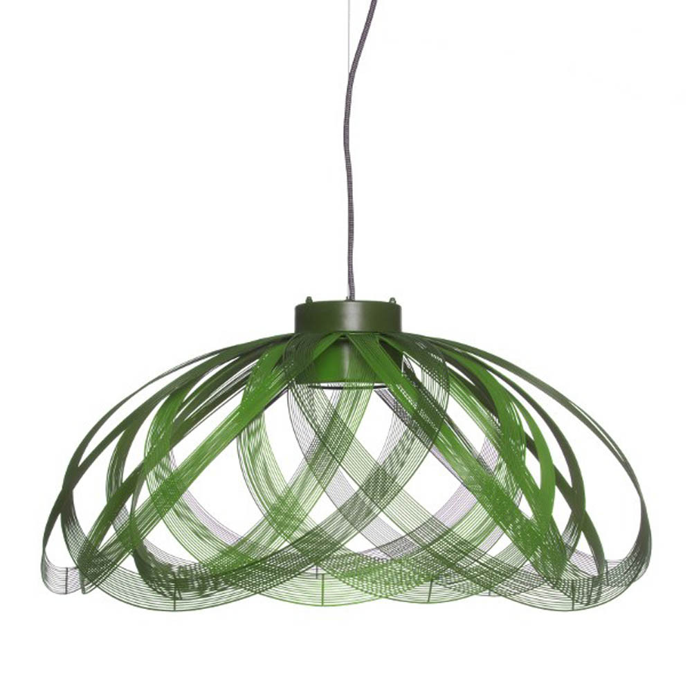 À Côté Suspension Lamp 28.5 diameter x 13.5 H inches Galvanized Iron Wire Green