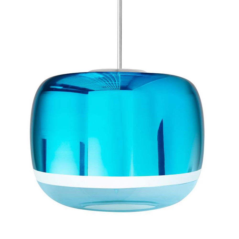 Magica Acorn Pendant Lamp 12.5 diameter x 9.5 H inches Hand-Blown Murano Glass Aqua