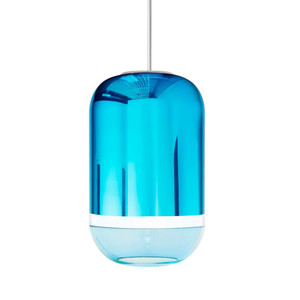 Magica Barrel Pendant Lamp 8.5 diameter x 13.5 H inches Hand-Blown Murano Glass Aqua