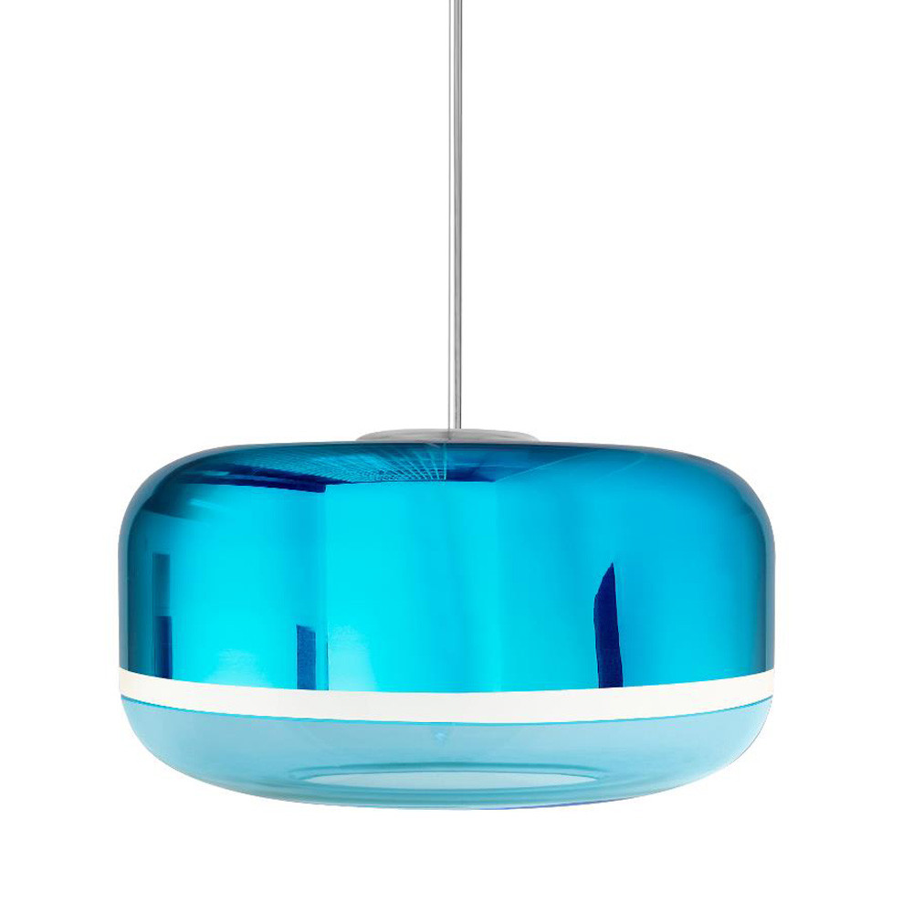 Magica Drum Pendant Lamp 15.5 diameter x 8.5 H inches Hand-Blown Murano Glass Aqua