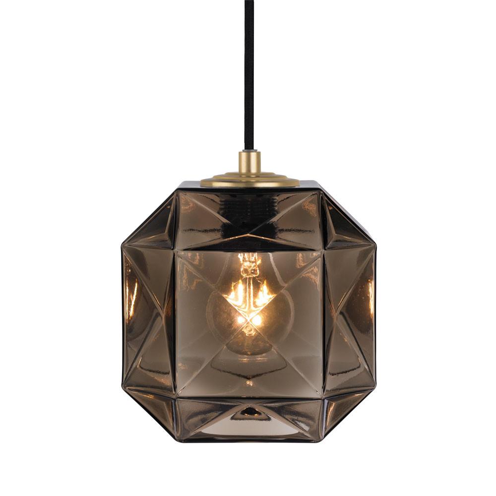 Mimo Cube Pendant Lamp 7 x 7 x 7 H inches Hand-Blown Murano Glass Bronze