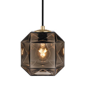 Mimo Cube Pendant Lamp 7 x 7 x 7 H inches Hand-Blown Murano Glass Bronze
