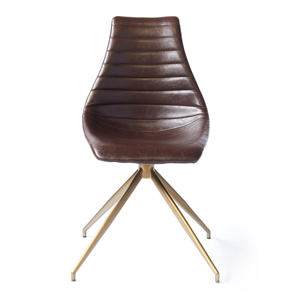 Ethan Dining Chair 23 x 20.5 x 33 H inches Vegan Faux Leather, Brass Brown