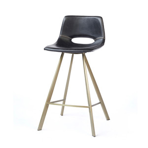 Hopkins Counter Stool 21 x 19.25 x 34.25 H inches Vegan Faux Leather, Brass