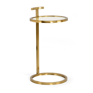 Elise SideTable 14 x 14 x 26 H inches Brass, Glass