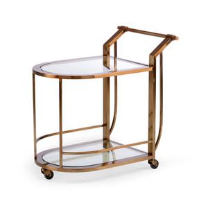 Maxwell Bar Cart 20.5 x 30 x 30 H inches Steel, Glass