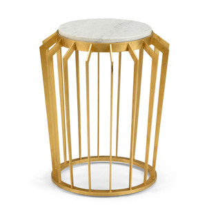 Mason Side Table 19.5 x 19.5 x 22.5 H inches Iron, Marble Gold, White