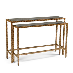 Bennett Nesting Console Table 48 x 12.5 x 32.5 H inches Aluminum, Glass