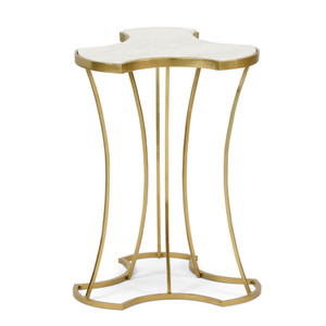 Triptych Side Table 15 x 15 x 20 H inches Iron, Marble