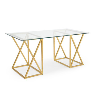 Gilt Desk Gold 65 x 30 x 30.5 H inches Iron, Glass