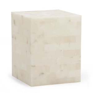 Square Alabaster Side Table 15.5 x 15.5 x 20 H inches