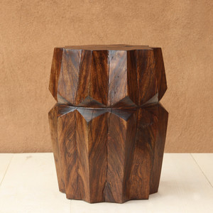 Estrella Side Table Size: 16 dia x 22 H inches Dark Walnut Finish Sealed Topcoat