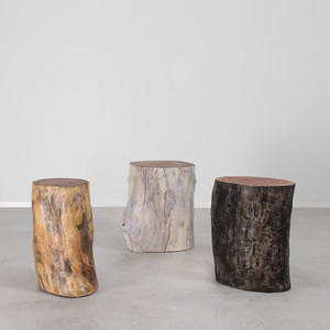 As Shown: Margo Grande Outdoor Log Tables Dimensions: 12 - 16 dia x 20 H inches Finish: Natural, White Wash and Midnight Black