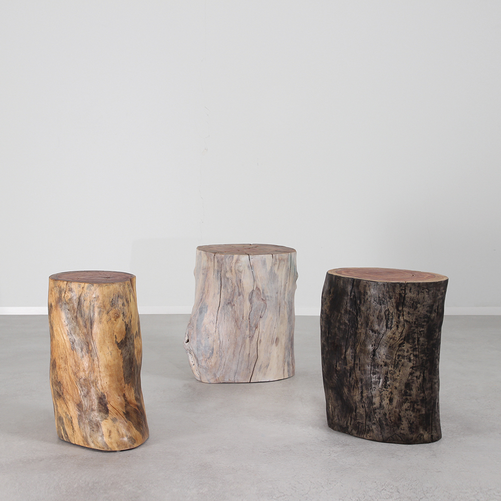 Margo Grande Outdoor Log Tables 12 - 16 dia x 20 H inches Natura, White Mist and Pale Black