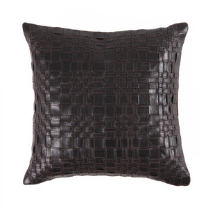 Vespa Woven Leather Pillow 16 x 16 inches  Leather Espresso Brown