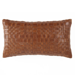 Vespa Woven Leather Pillow 10 x 18 inches Leather Saddle Brown