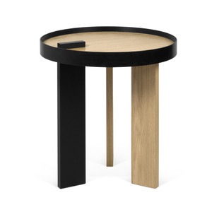 Bruno Side Table 19.75 Diameter x 19.75 H inches Oak Veneer, Lacquered Wood