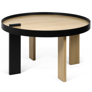 Bruno Cocktail Table 32 Diameter x 17 H inches Oak Veneer, Lacquered Wood