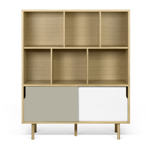 Dann Cupboard 53 x 18 x 60 H inches Oak Veneer, Lacquered Wood
