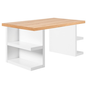 Multi Storage Desk 63 x 35 x 30 H inches Oak Veneer, Lacquered Wood