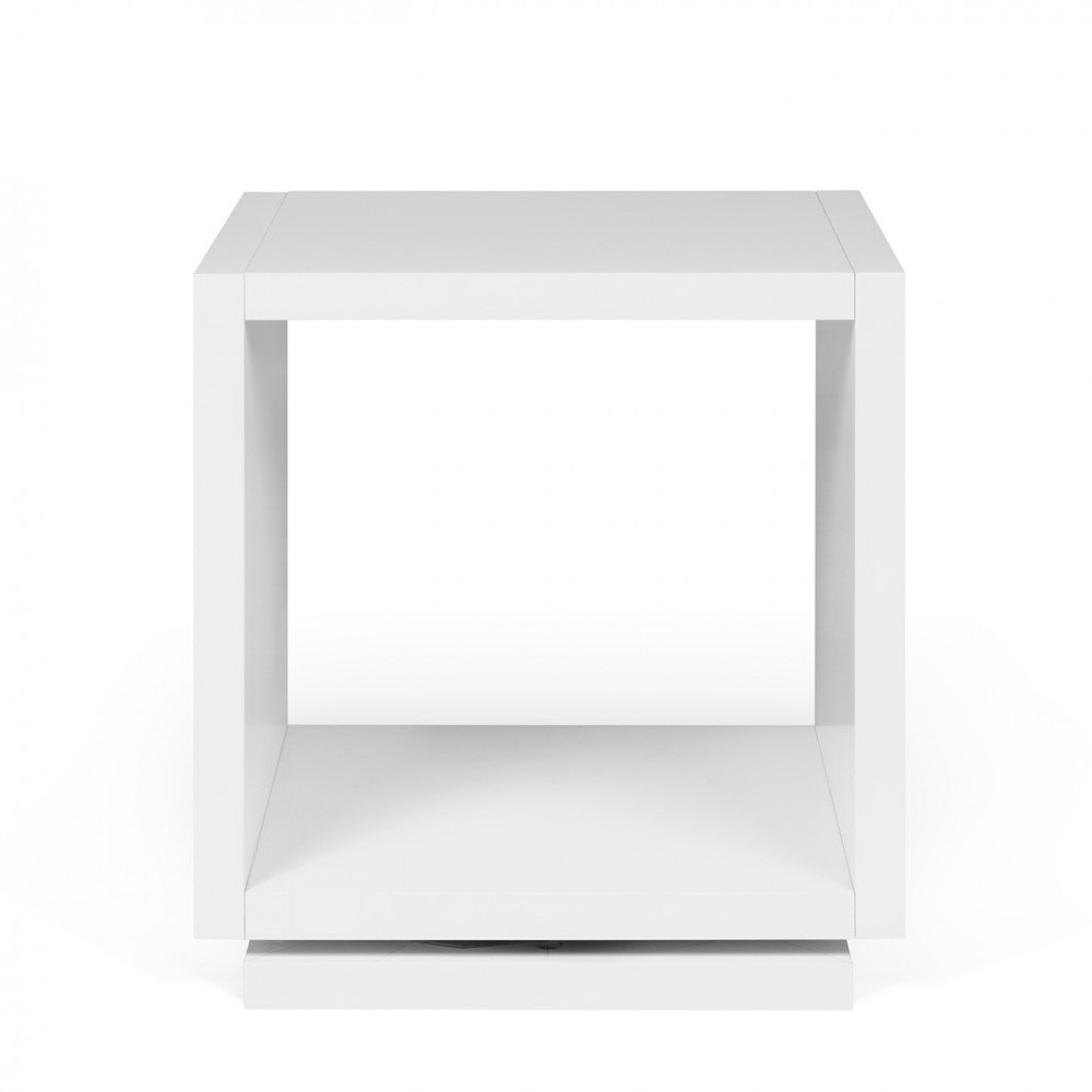 Charmant Shell Mini Bedside Table 16 X 13 X 17 H Inches Lacquered Wood