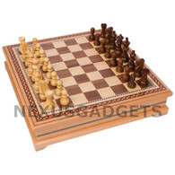 Hena Chess in Wood Cabinet with Weighted Pieces, 15 Inch
