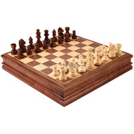 Cava Chess Set with Storage in Walnut Wood Finish, 15 Inch