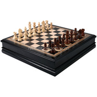 Warstone Chess Black Inlaid Wood Set, Large 18 Inch
