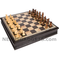 Adaz Chess Black Inlaid Wood Set, Large 19 Inch