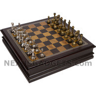 Gris Chess in Wood Cabinet with Metallic Pieces, 12 Inch
