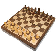 Fullerton Magnetic Chess in Dark Brown Rounded Corner Wood Case - 8 Inch