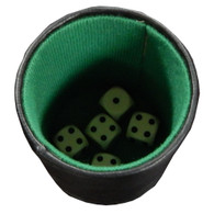 Jogh Leatherette and Felt Dice Cup with Pencil, Notepad, and 5 Dice