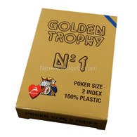 Modiano Single Deck Italian Plastic Playing Cards, Golden Trophy with Blue Deck