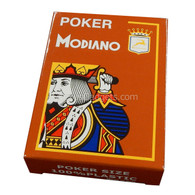 Modiano Single Deck Italian Plastic Playing Cards - Orange Poker Deck