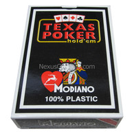 Modiano Single Deck Italian Plastic Playing Cards, Black Texas Holdem Box with Red Deck