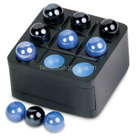 Zolm Tic Tac Toe Wood Box with Marbles, Black