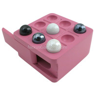 Zoik Tic Tac Toe Wood Box with Marbles, Pink