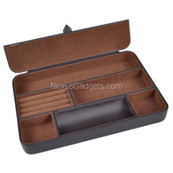 Deosia Valet Tray in BROWN Vinyl with 6 Compartments