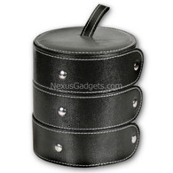 Deosia Jewelry Box in Vinyl - Round Three Compartment - Black