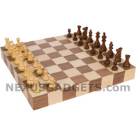 Atam Borderless Wood Tournament Chess Set with Weighted Pieces, 18 Inch