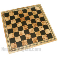 "Carmel 21"" Tournament Chess Board with Diamond Border in Burl Wood - BOARD ONLY"