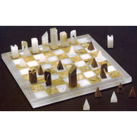 Chiellini Alabaster Chess Set NS180 in Brown and White, Made in Italy