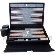 Frengie Backgammon Suitcase in Black Genuine Leather
