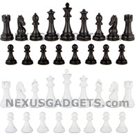 Mina Metal Chess Pieces in Black and White with Extra Queens and 4.5 Inch King, PIECES ONLY